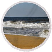 Round Beach Towel featuring the photograph A Brisk Day by Sarah McKoy