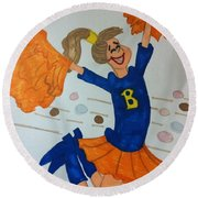 A Cheerful Cheerleader Round Beach Towel