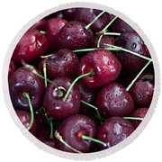 Round Beach Towel featuring the photograph A Cherry Bunch by Sherry Hallemeier