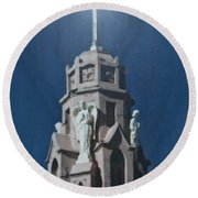 A Church Tower Round Beach Towel