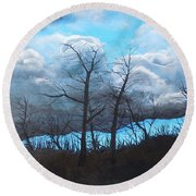 A Cloudy Day Round Beach Towel
