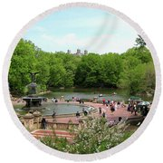 Round Beach Towel featuring the photograph A Day At The Park Fountain by Lorraine Devon Wilke