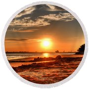 A Day Ends Over Charleston Round Beach Towel