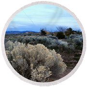 A Desert View After Sunset Round Beach Towel