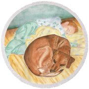 A Dog And Her Boy Round Beach Towel