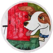 A Dog Is Heading Out The Door. Round Beach Towel