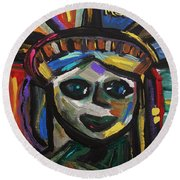 Round Beach Towel featuring the painting A Face Of Freedom by Mary Carol Williams