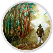 A Fall Walk In The Woods Round Beach Towel