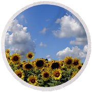 A Field Of Gold Round Beach Towel by Richard Ortolano