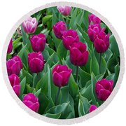 A Field Of Tulips Series 2 Round Beach Towel by Eva Kaufman