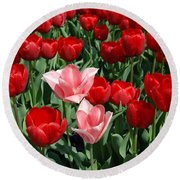 A Field Of Tulips Series 3 Round Beach Towel by Eva Kaufman