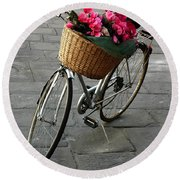 A Flower Delivery Round Beach Towel by Vivian Christopher