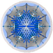 Round Beach Towel featuring the digital art A Game Of Swords by Mario Carini