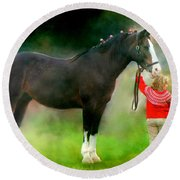 Round Beach Towel featuring the photograph A Girl And Her Horse by Davandra Cribbie