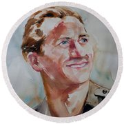 Round Beach Towel featuring the painting A Great Man by Barbara McMahon