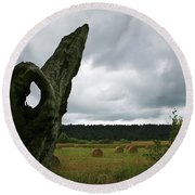 Round Beach Towel featuring the photograph A Ok In A Field Of Hay by Lorraine Devon Wilke