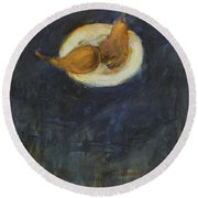 Round Beach Towel featuring the painting A Pair by Kathleen Grace