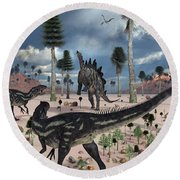 A Pair Of Allosaurus Dinosaurs Confront Round Beach Towel