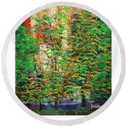 A Peaceful Place Poster Round Beach Towel