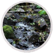 Round Beach Towel featuring the photograph A Peaceful Stream by Chalet Roome-Rigdon