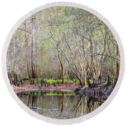 A Quiet Back Woods Place Round Beach Towel