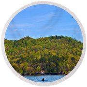Round Beach Towel featuring the photograph A Quiet Day by Susan Leggett
