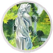 Round Beach Towel featuring the painting A Statue At The Wellers Carriage House -3 by Yoshiko Mishina