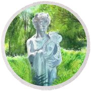 Round Beach Towel featuring the painting A Statue At The Wellers Carriage House -4 by Yoshiko Mishina