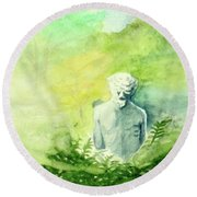 Round Beach Towel featuring the painting A Statue At The Wellers Carriage House -5 by Yoshiko Mishina