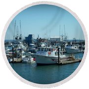 A Sunny Nautical Day Round Beach Towel