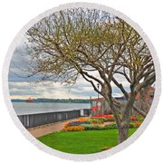 Round Beach Towel featuring the photograph A View From The Garden by Michael Frank Jr