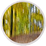 Round Beach Towel featuring the photograph A Walk In The Woods by Susan Leggett