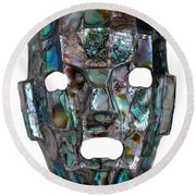 Round Beach Towel featuring the photograph Abalone Mayan Mask by Shawn O'Brien