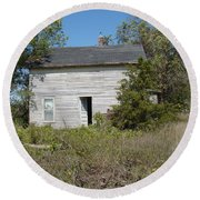 Round Beach Towel featuring the photograph Abandoned by Bonfire Photography