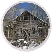 Round Beach Towel featuring the photograph Abandoned House In Snow by Susan Leggett