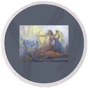Abraham And Issac Test Of Abraham Round Beach Towel