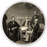 Round Beach Towel featuring the photograph Abraham Lincoln At The First Reading Of The Emancipation Proclamation - July 22 1862 by International  Images