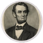 Round Beach Towel featuring the photograph Abraham Lincoln Portrait by International  Images