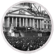 Round Beach Towel featuring the photograph Abraham Lincolns First Inauguration - March 4 1861 by International  Images