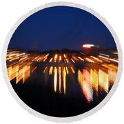 Abstract - City Lights Round Beach Towel by Sue Stefanowicz