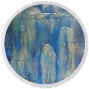 Abstract Blue Ice Round Beach Towel