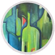 Round Beach Towel featuring the painting Abstract Bottles by Patricia Cleasby