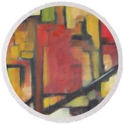 Round Beach Towel featuring the painting Abstract Cityscape by Patricia Cleasby