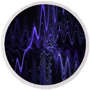 Abstract Digital Blue Waves Fractal Image Black Computer Art Round Beach Towel by Keith Webber Jr