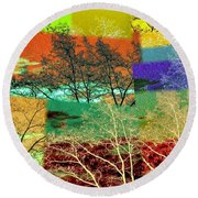 Abstract Fusion 48 Round Beach Towel