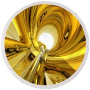 Round Beach Towel featuring the digital art Abstract Gold Rings by Phil Perkins