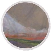 Abstract Landscape - Scarlet Light Round Beach Towel
