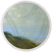 Abstract Landscape - Green Hillside Round Beach Towel