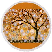 Abstract Modern Tree Landscape Dreams Of Gold By Amy Giacomelli Round Beach Towel