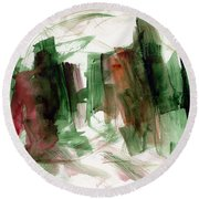 Abstract Watercolor 51 Round Beach Towel